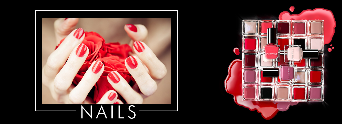 hands with red nail lacquer