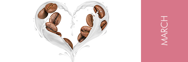 Heart of milk and coffee beans
