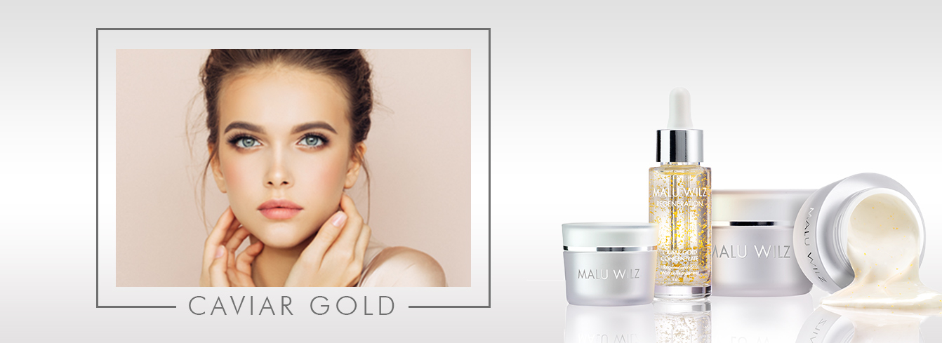 young woman with Caviar Gold products